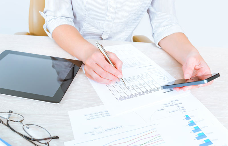Business woman auditing finances