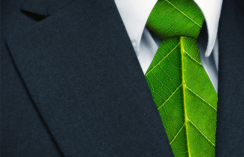 Close up of businessman's tie that is made up of a leaf