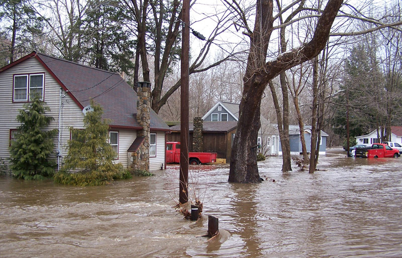 An image of a neighbourhood flooded.