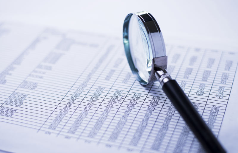 A close-up image of a magnifying glass resting on a spreadsheet.