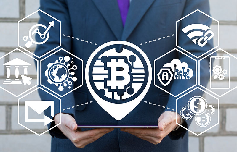 Bitcoin logo, business man, hands out