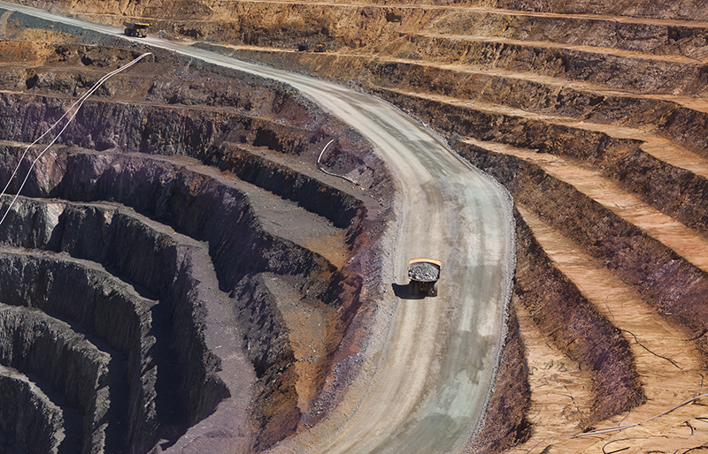 Truck transporting gold ore from open cast mine