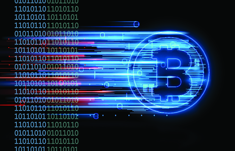 A digital bitcoin moving very quickly, while passing thru a column of binary numbers