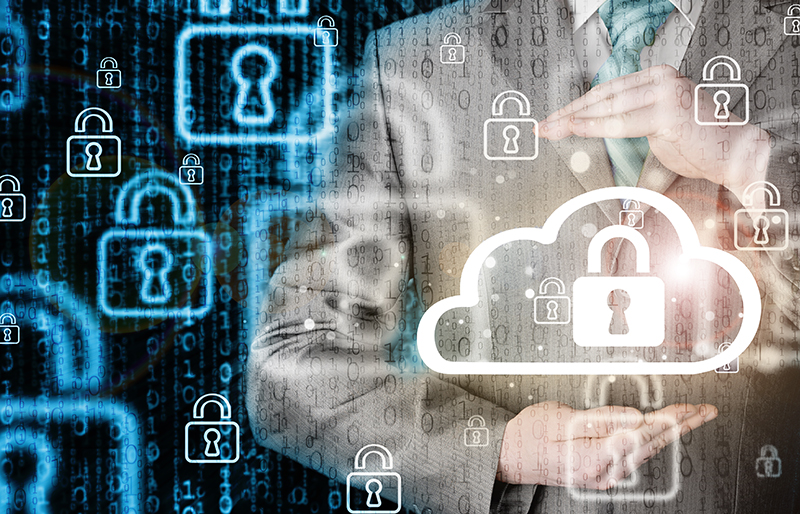 business person using hands to protect virtual 'cloud' technology icon with a lock, surrounded by other lock icons