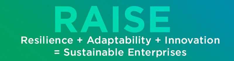 Diagram that reads raise: Resilience + Adaptability + Innovation = Sustainable Enterprises