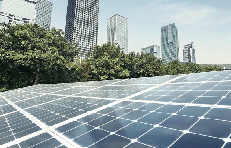 Photo of large solar energy panels with tall buildings and trees in background.