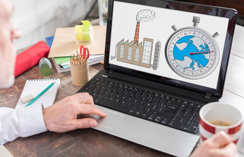 Climate change concept shown on a laptop screen