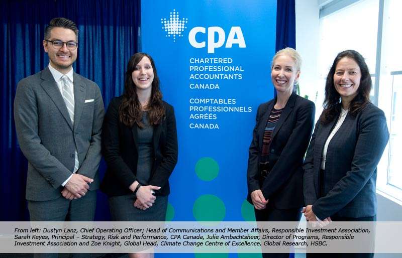 Dustyn Lanz, Sarah Keyes and Zoe Knight beside CPA banner