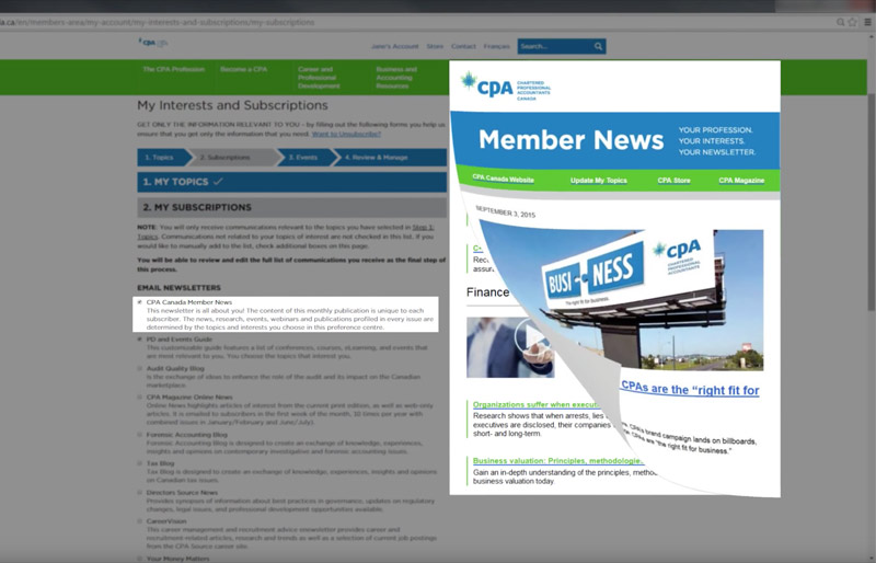 A screen shot of the CPA Canada web site Preference Center with an overlay of the Member News enewsletter rolling up to reveal another version.