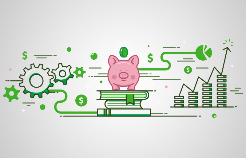 Illustration of pink piggy bank surrunded by books, gears, and ascending stacks of coins.