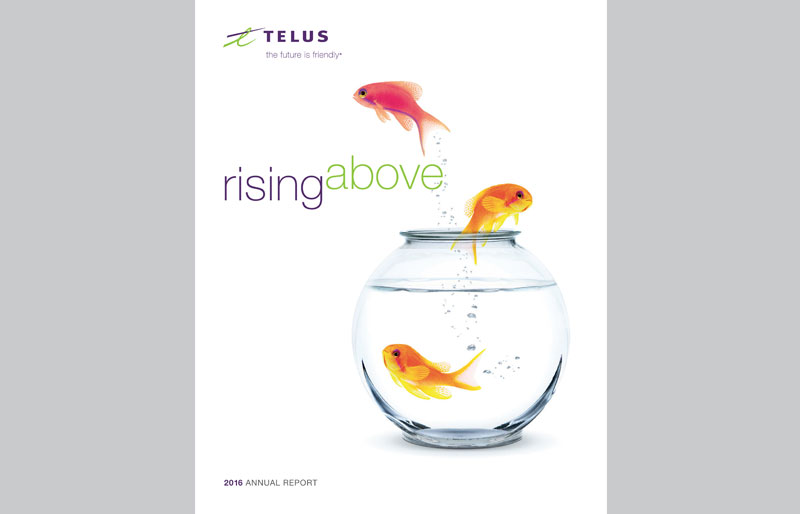 CR Awards winner: TELUS Annual Report, fish jumping out of water bowl