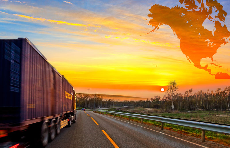 Truck on road and North America map background, NAFTA