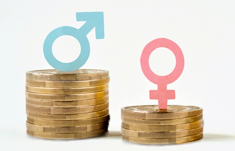 The symbol for male sitting on a stack of coins, beside  the symbol for female, sitting on a smaller stack of coins