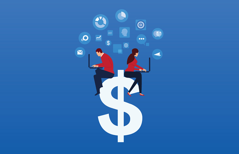 2019 cover illustration for CPA Canada: Financial Capability Report 03 of two people sitting on a dollar sign, using laptops
