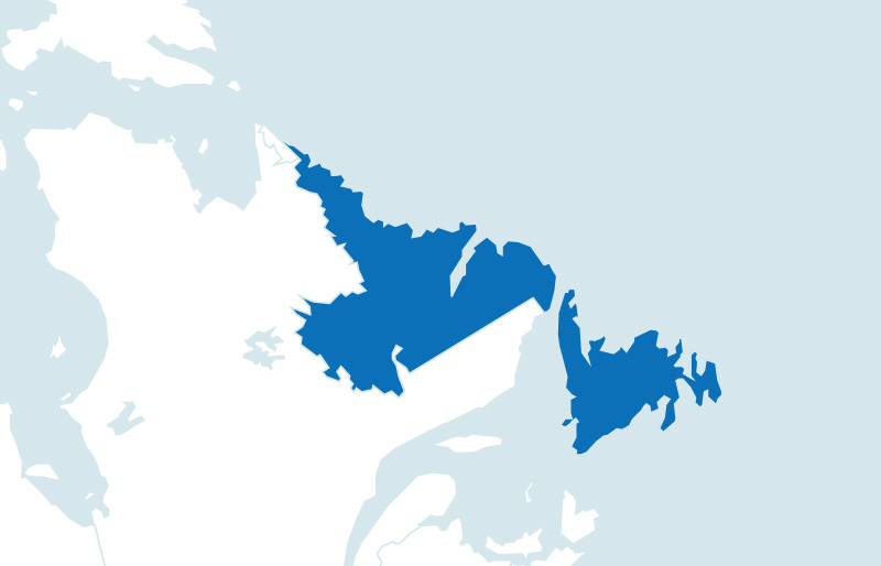 Map of province of Newfoundland and Labrador