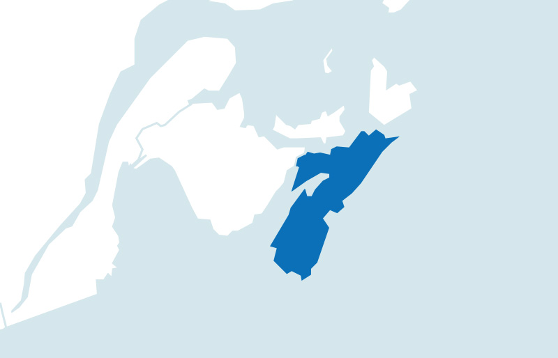 Map of province of Nova Scotia