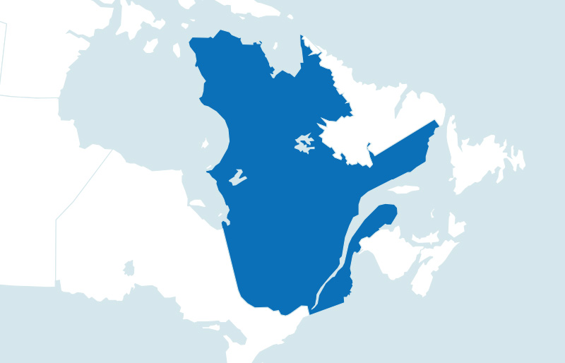 Map of province of Quebec