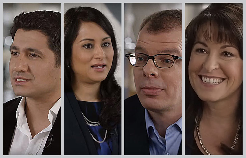 Four separate photos of profiled individuals, side by side.