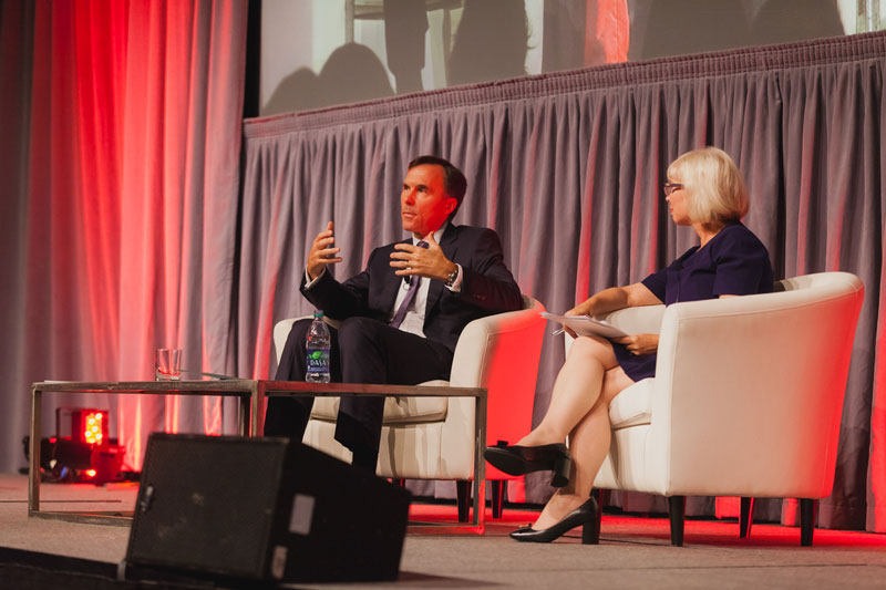 Federal Finance Minster Bill Morneau speaks with CPA Canada CEO Joy Thomas at The ONE National Conference