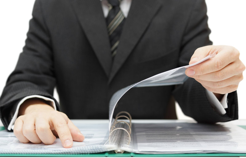 A photo of a business professional reviewing a report.