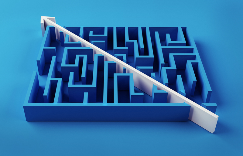 an arrow cutting directly through a maze