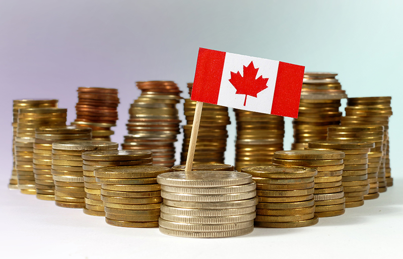 Small Canadian flag standing among stacks of coins