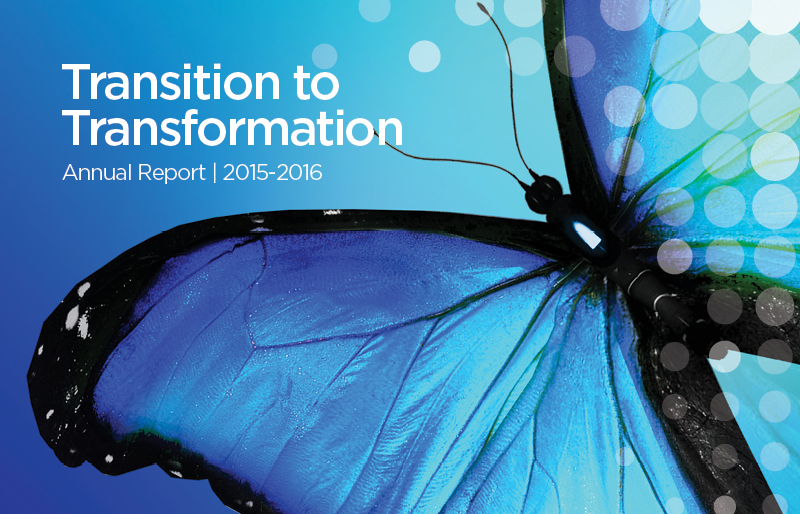 Cover of the 2015-2016 Annual Report featuring an image of a butterfly